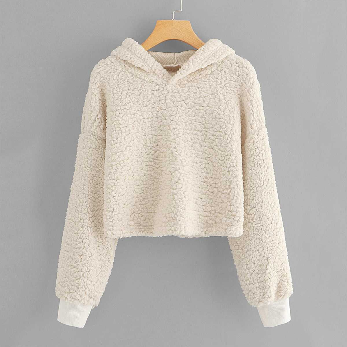 0d96377c86fb Drop Shoulder Crop Teddy Hoodie Shein | GOOFASH SHOP