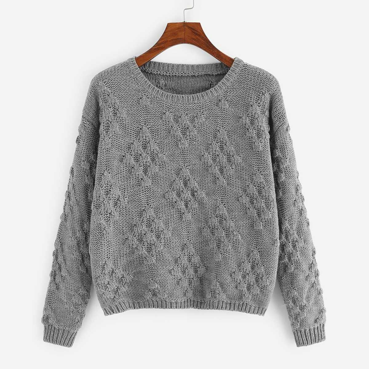cce6e135c4fa Drop Shoulder Geo Knit Sweater Shein | GOOFASH SHOP