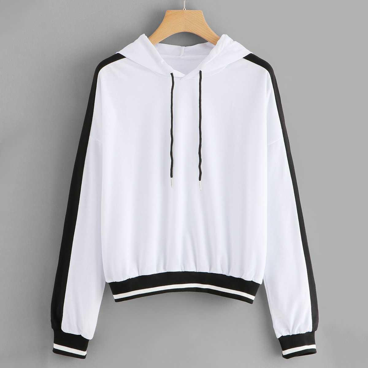 0140ad85fca6 Drop Shoulder Two Tone Hoodie Shein | GOOFASH SHOP