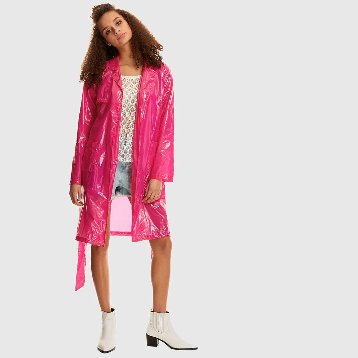 Dual Pocket Open Front Belted Raincoat - Shein - GOOFASH