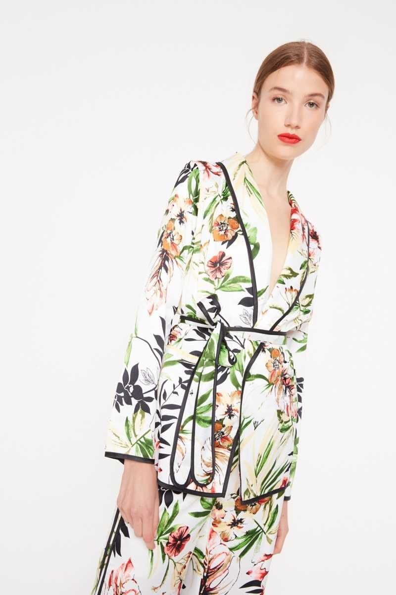 Elli White Floral Belted Shirt With Contrast Stripe  - White - Own The Look - GOOFASH