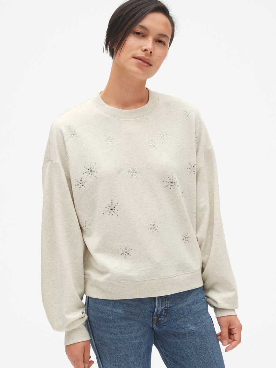 Embellished Pullover Sweatshirt in French Terry Oatmeal Heather B0281 - Gap - GOOFASH
