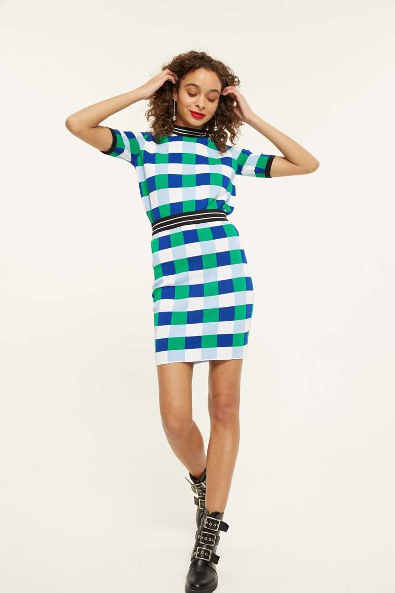 Endless Rose Checkerboard Print Skirt  - Blue - Own The Look - GOOFASH