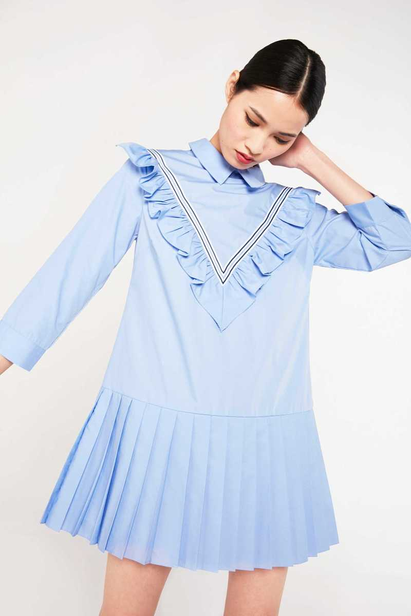 English Factory Shirt Dress With Ruffle Panel - Own The Look - GOOFASH