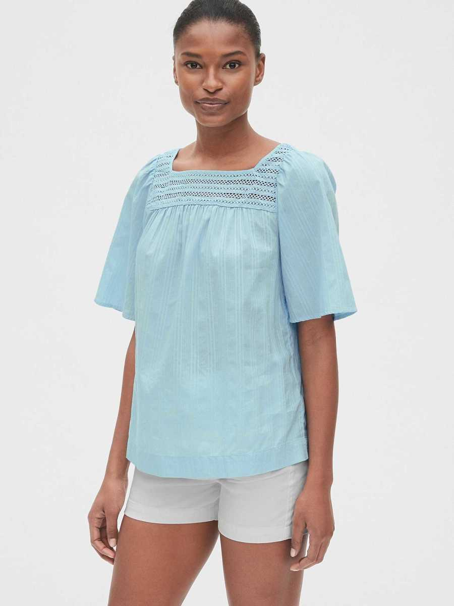 Eyelet Embroidered Square-Neck Blouse in Dobby Stripe Cool Blue - Gap - GOOFASH