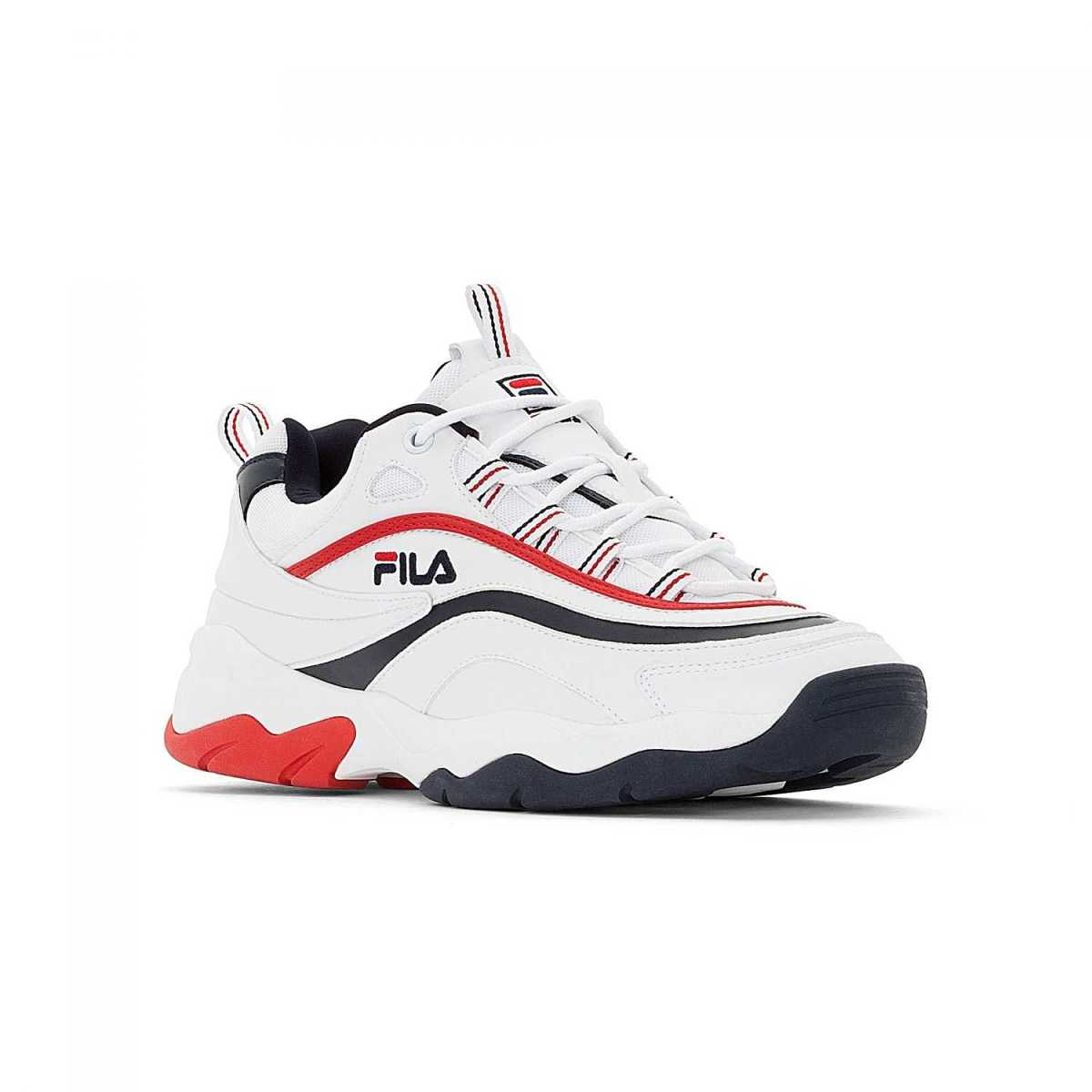 FILA Ray F Low Men white-navy-red in Red for Men - GOOFASH