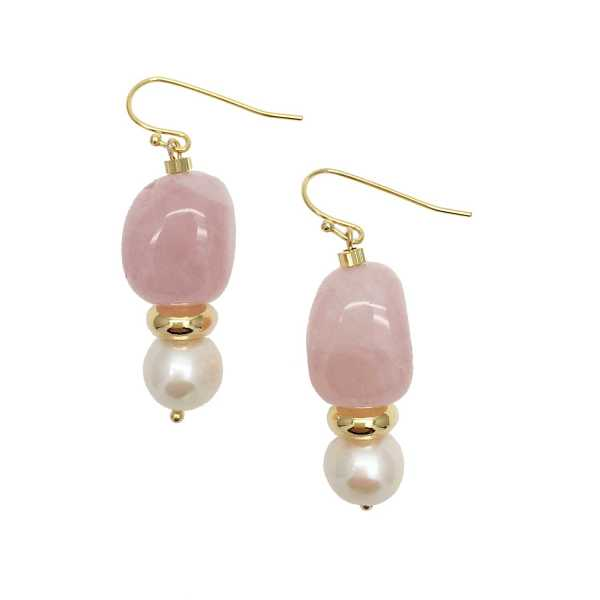 Farra - Nugget Rose Quartz With Freshwater Pearls Drop Earrings - Wolf And Badger - GOOFASH
