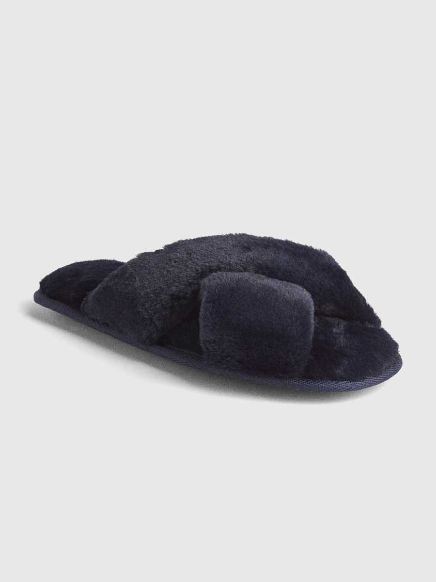 Faux-Fur Crossover Slippers Dark Night - Gap - GOOFASH