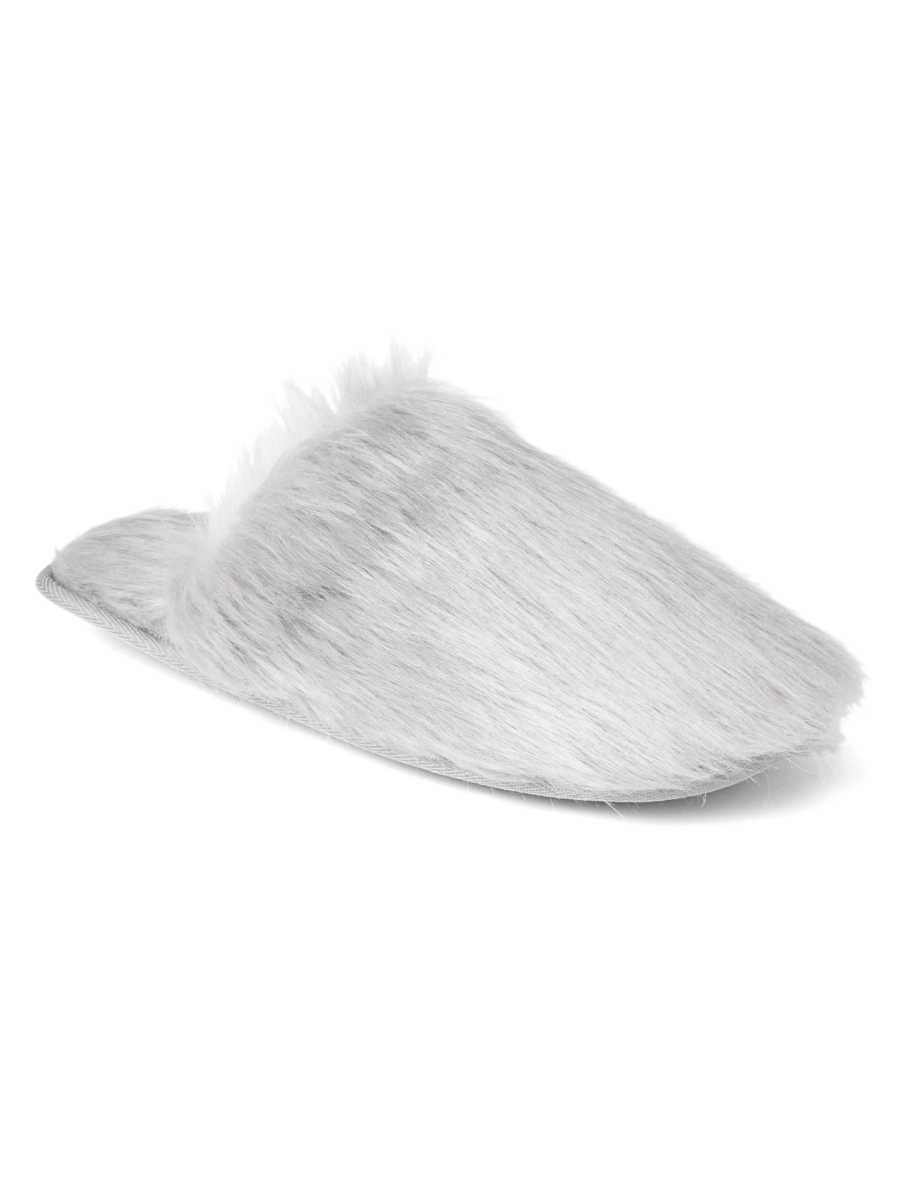 Faux-fur slippers Grey - Gap - GOOFASH
