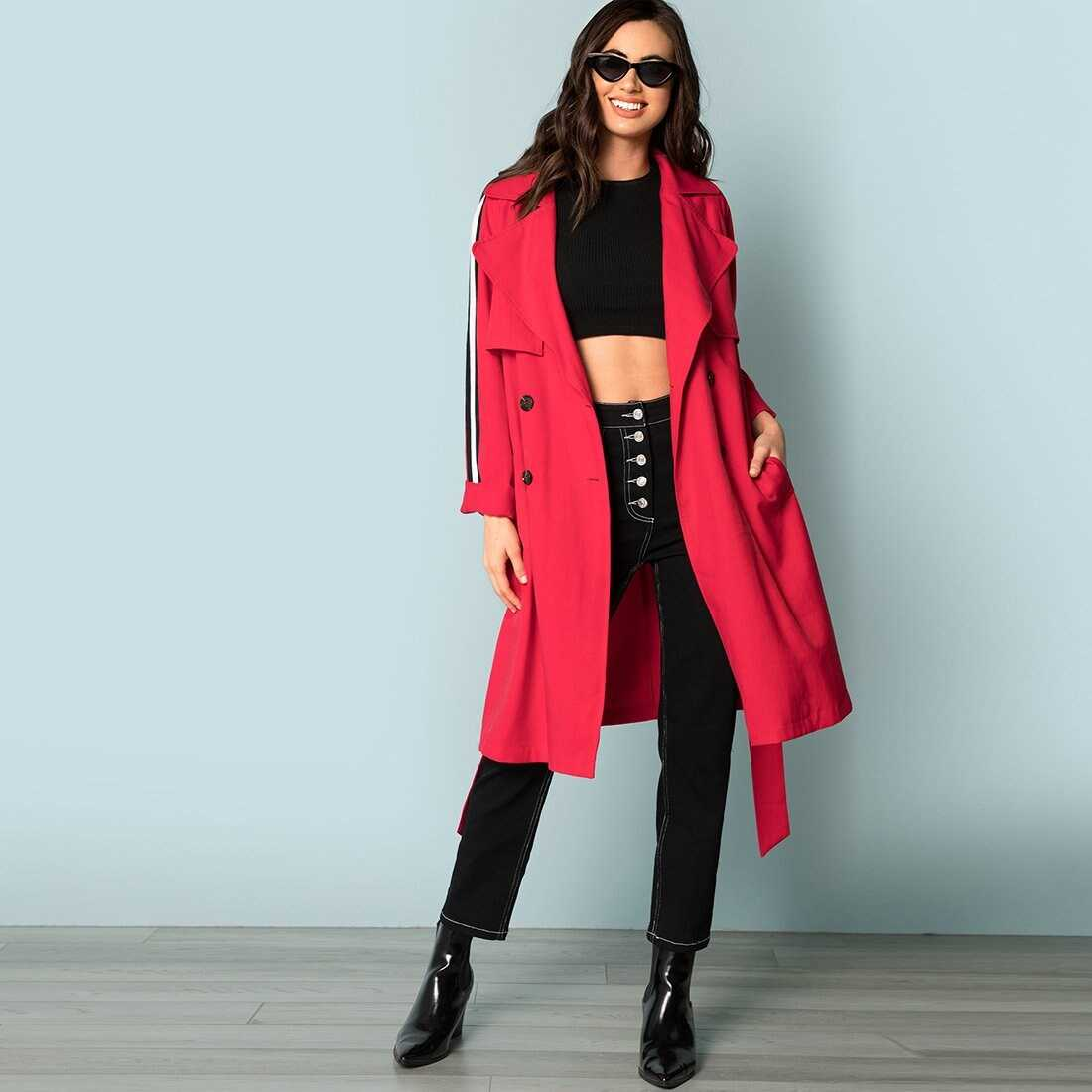 Flap Front Belted Trench Coat - Shein - GOOFASH