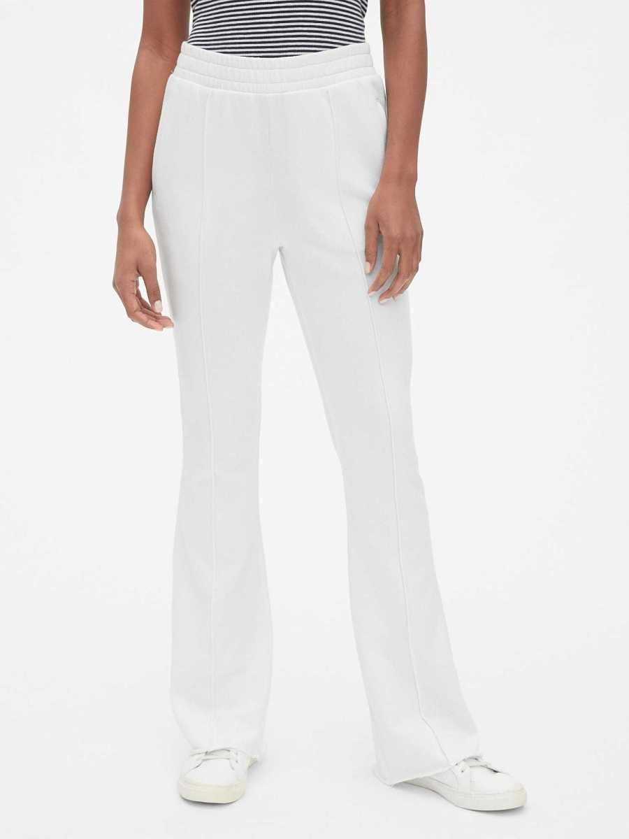Flare Pintuck Track Pants in French Terry White - Gap - GOOFASH