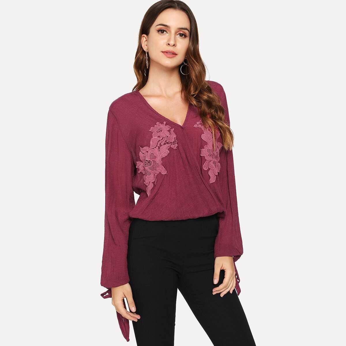 Floral Embroidered Knot Sleeve Blouse - Shein - GOOFASH