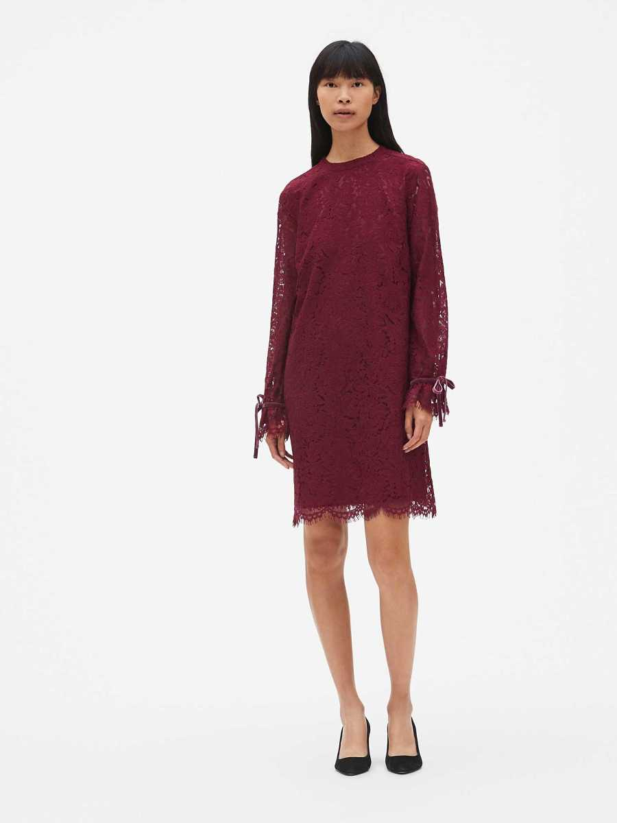 Floral Lace Tie-Sleeve Shift Dress Red Delicious - Gap - GOOFASH