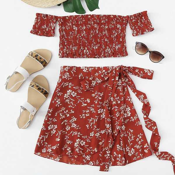 Floral Off The Shoulder Top With Skirt - Shein - GOOFASH