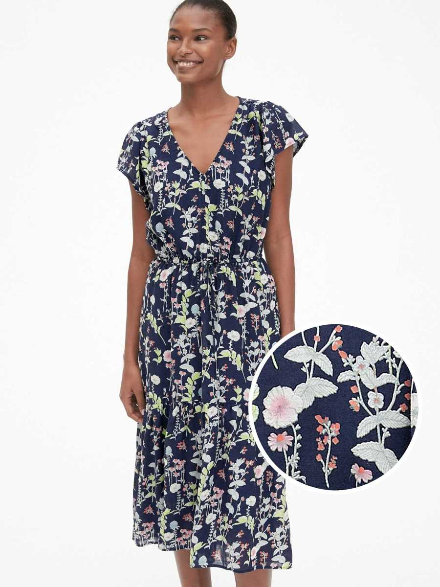 Floral Print Tiered Midi Dress Navy Floral - Gap - GOOFASH
