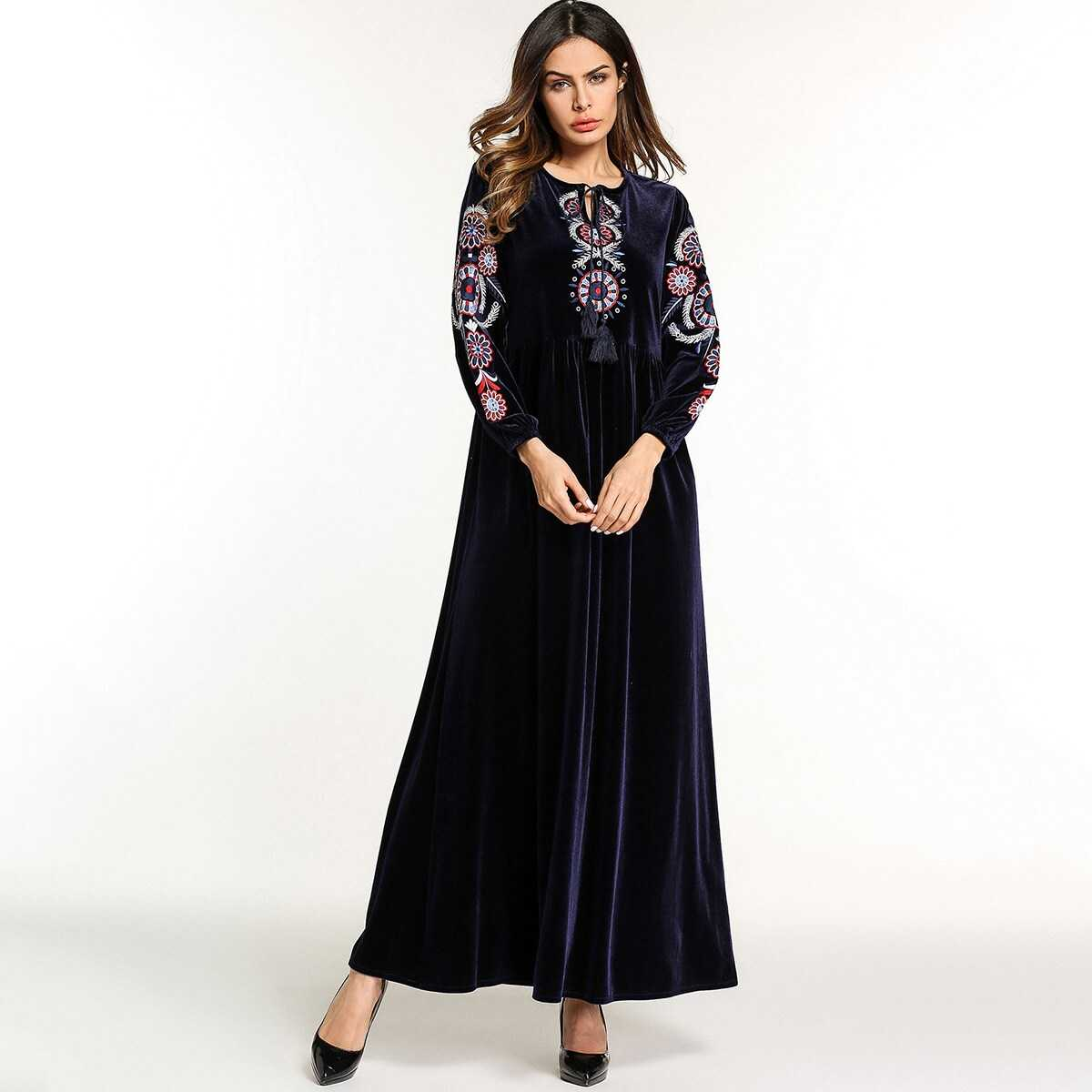 Flower Embroidered Tassel Detail Tie Neck Dress - Shein - GOOFASH