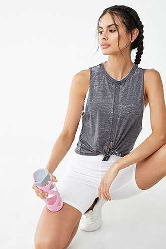 Forever 21 Active Oil Wash Tie-Hem Muscle Tee  Charcoal - GOOFASH