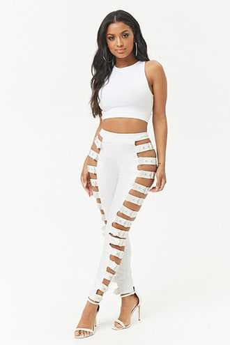 Forever 21 Buckled Ladder Cutout Coated  Leggings  White GOOFASH 2000293520024