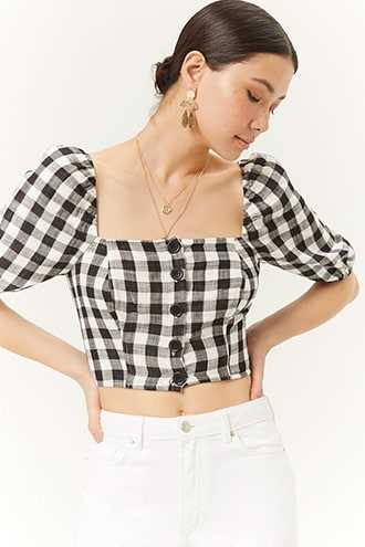 9b95ab0d2df Forever 21 Buffalo Plaid Crop Top Black/ivory GOOFASH 2000286603034