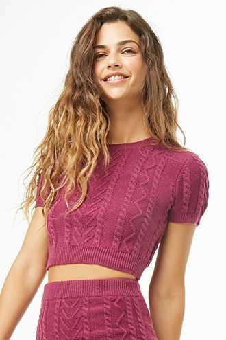 Forever 21 Cable Knit Sweater Crop Top Wine