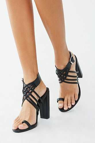 Forever 21 Caged Chunky Heels  Black - GOOFASH