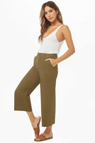 Forever 21 Chino Ankle Pants  Olive GOOFASH 2000286235014