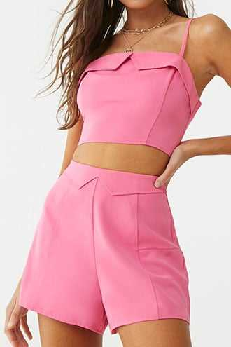 Forever 21 Cropped Cami & Shorts Set  Hot Pink - GOOFASH