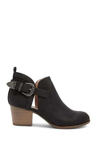 Forever 21 Cutout Faux Suede Booties  Black - GOOFASH