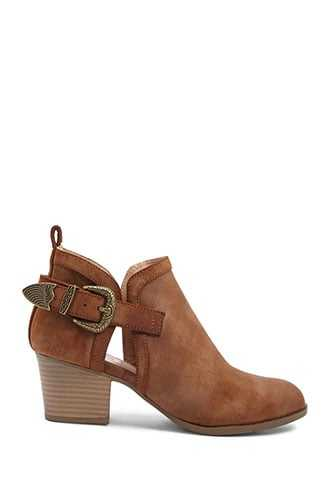 Forever 21 Cutout Faux Suede Booties  Tan - GOOFASH