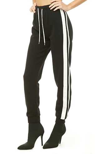 Forever 21 Duo-Tone Trim Joggers  Black/silver GOOFASH 2000308898024
