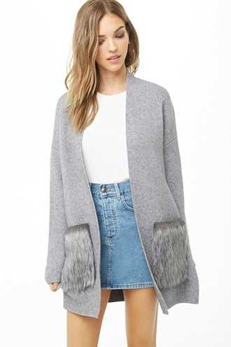Forever 21 Faux Fur Pocket Cardigan  Heather Grey GOOFASH 2000308092025