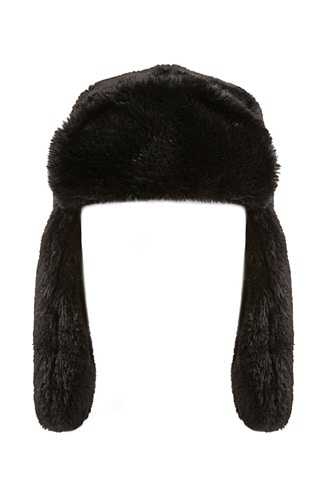 Forever 21 Faux Fur Trapper Hat Black GOOFASH 2000311077021