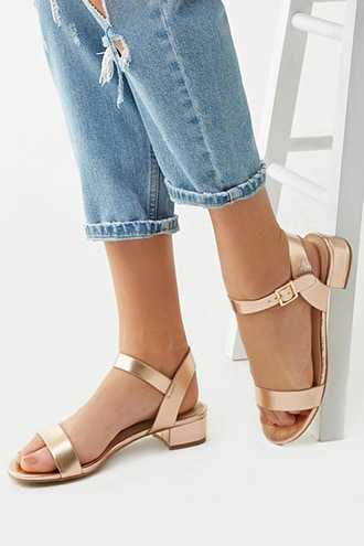 Forever 21 Faux Leather Block Heels  Rose Gold - GOOFASH