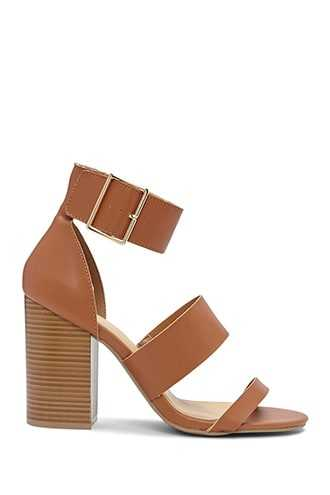 Forever 21 Faux Leather Strappy Heels  Brown GOOFASH 2000301312028