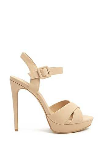 Forever 21 Faux Leather Strappy Platform Heels  Nude GOOFASH 2000313535020