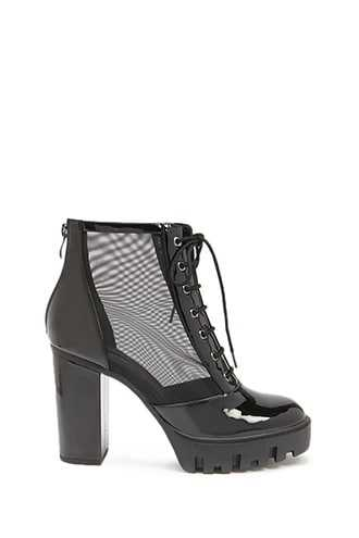 Forever 21 Faux Patent Leather Mesh Panel Booties  Black GOOFASH 2000318332013