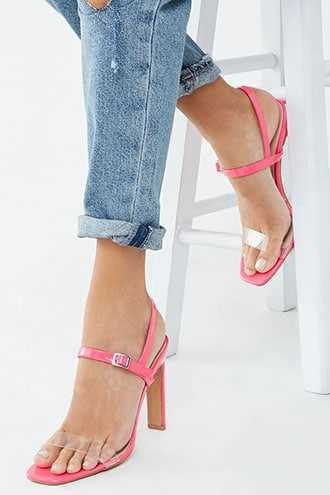 Forever 21 Faux Patent Leather Open Toe Heels  Neon Pink - GOOFASH