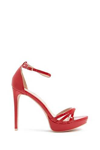 Forever 21 Faux Patent Leather Platform Stiletto Heels  Red GOOFASH 2000301142039