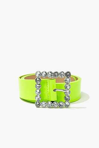 Forever 21 Faux Patent Leather Waist Belt  Neon Yellow - GOOFASH