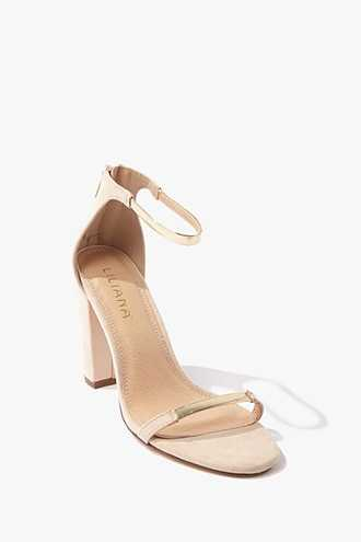 Forever 21 Faux Suede Ankle-Strap Heels  Nude/multi - GOOFASH