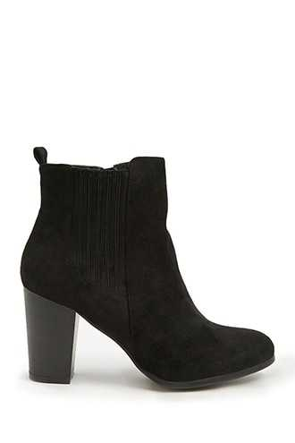 Forever 21 Faux Suede Booties  Black - GOOFASH