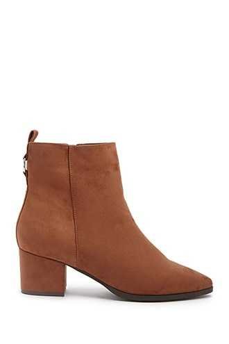 Forever 21 Faux Suede Booties  Brown GOOFASH 2000332513040