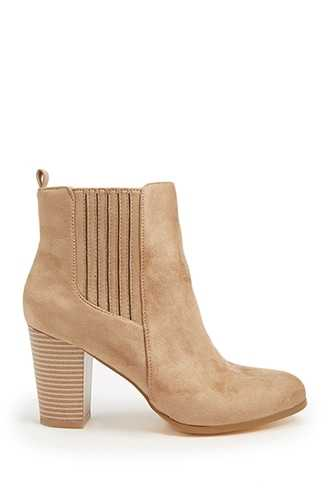 Forever 21 Faux Suede Booties  Taupe - GOOFASH