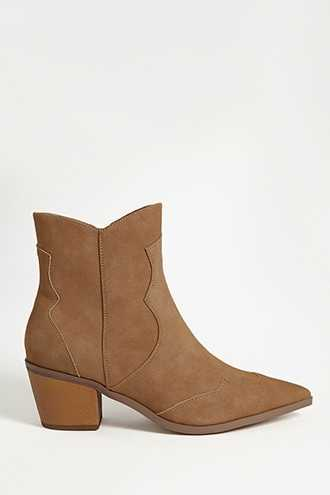 Forever 21 Faux Suede Boots  Taupe GOOFASH 2000277850010