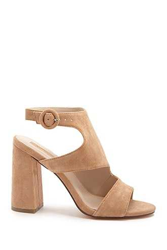 Forever 21 Faux Suede Cutout High Heels  Tan GOOFASH 2000330111030