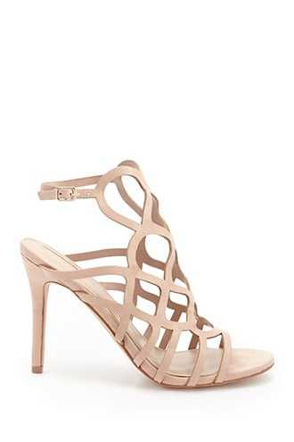 Forever 21 Faux Suede Geo-Cage Heels  Taupe GOOFASH 2000326379040
