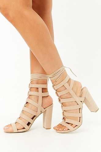 Forever 21 Faux Suede Lace-Up Caged Heels  Natural GOOFASH 2000307816025
