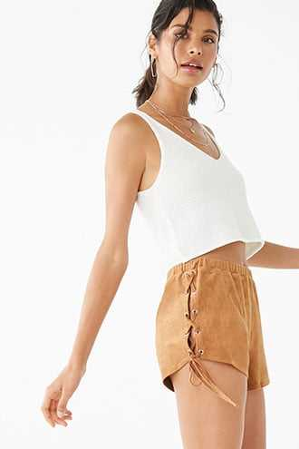 Forever 21 Faux Suede Lace-Up Shorts  Camel - GOOFASH