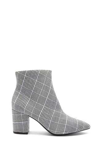 Forever 21 Glen Plaid Ankle Booties  Blue/multi GOOFASH 2000289981022