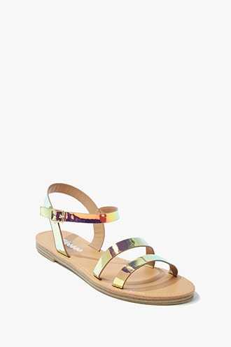 Forever 21 Iridescent Faux Patent Leather Sandals  Gold - GOOFASH